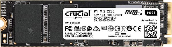 Crucial P1 1 TB NVMe SSD for budget video editing pc build